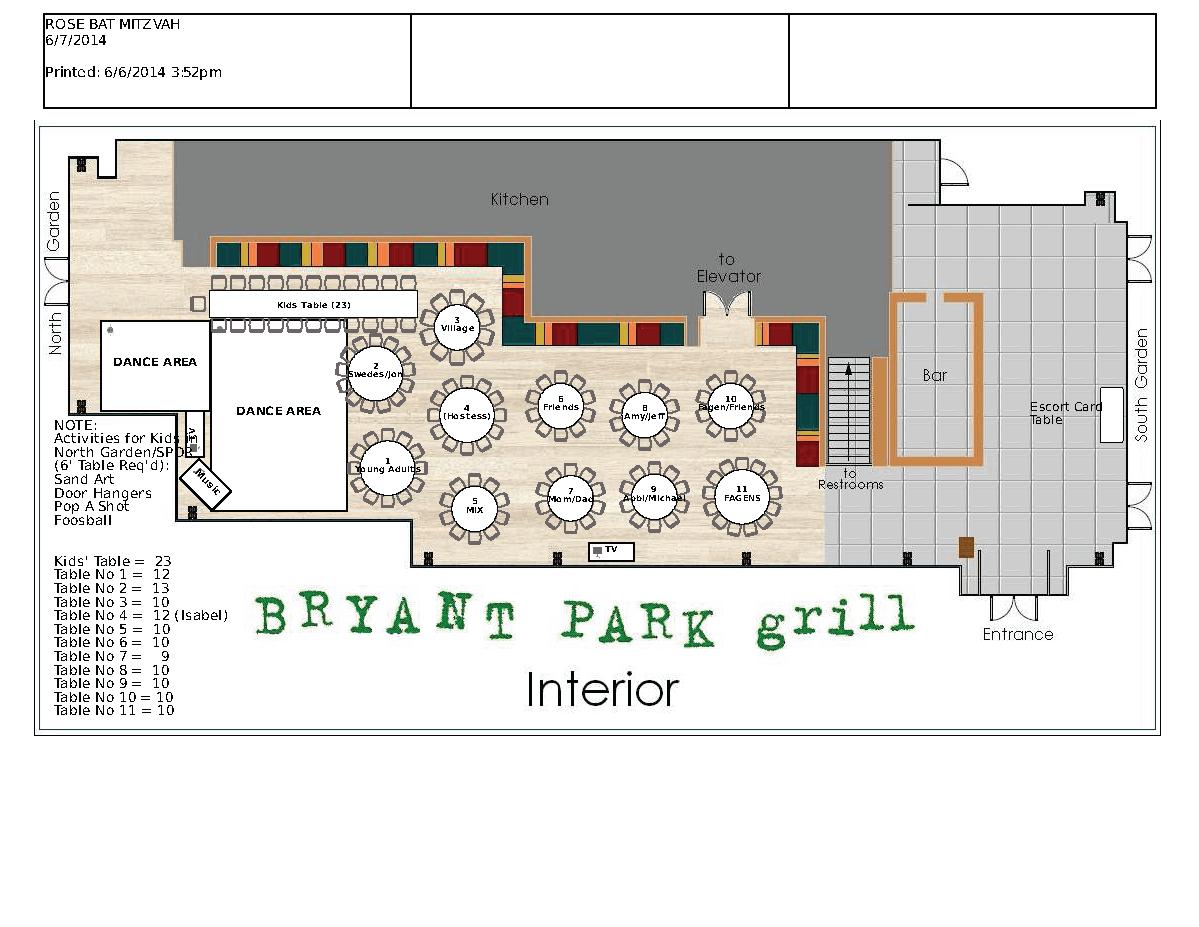 Lily Bat Mitzvah Floor Plan