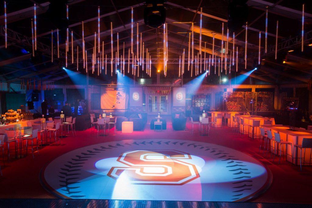 Sports Theme, Bar Mitzvah, Event Planning, Event Decor, Custom Dance Floor, Event Lighting