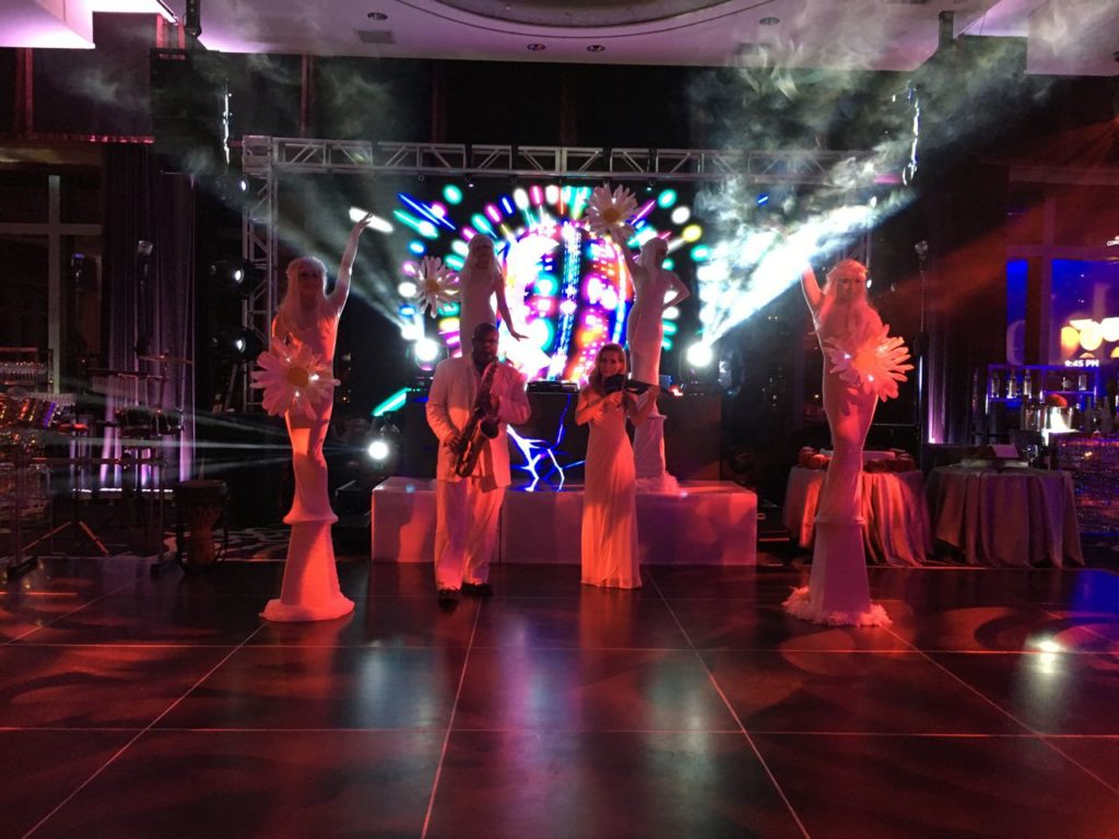 Living Statue Flowers on the Dance Floor Event Planning NYC, Fairfield CT, Hamptons, Weddings, Bar Mitzvah, Bat Mitzvah, Corporate Events, Sweet 16, Event DJs, Bands