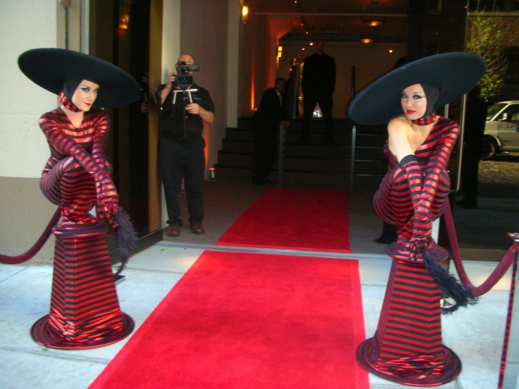 Living Statue Red Carpet Red & Black Greeters Event Planning NYC, Fairfield CT, Hamptons, Weddings, Bar Mitzvah, Bat Mitzvah, Corporate Events, Sweet 16, Event DJs, Bands
